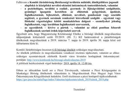 ÖNKORMÁNYZATI HIRDETMÉNY -a bírósági ülnökök 2019. évi választásáról